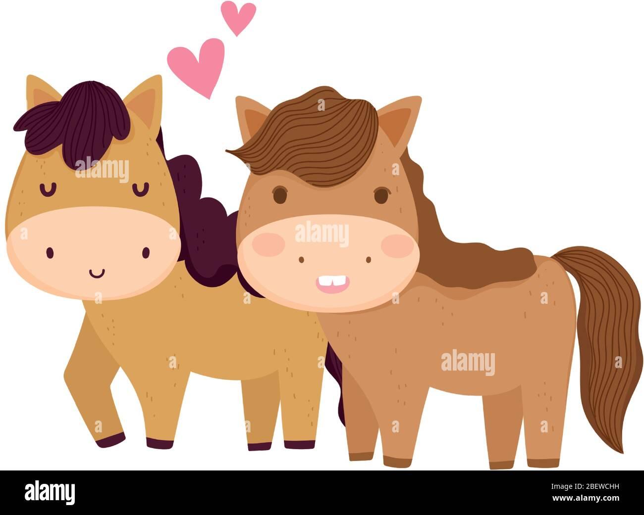 Farm Animals Couple Horses Isolated Icon On White Background Vector Illustration Stock Vector Image Art Alamy
