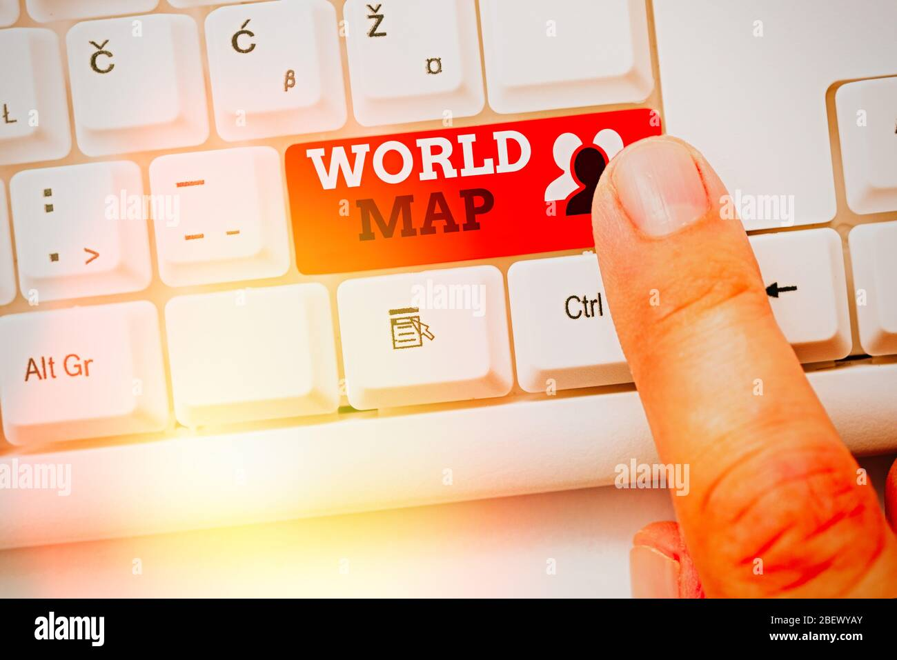 Writing note showing World Map. Business concept for a diagrammatic representation of the surface of the earth Stock Photo
