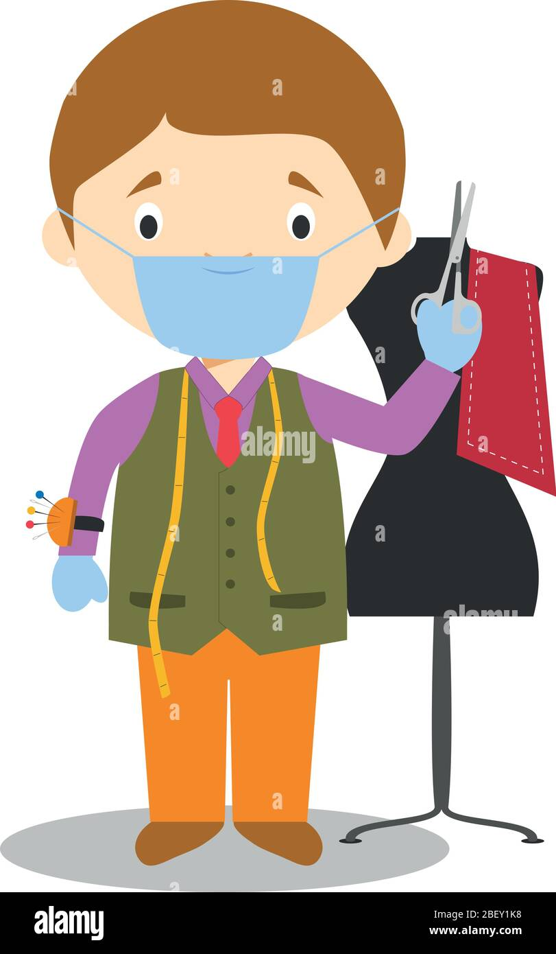Cute Cartoon Vector Illustration Of A Tailor With Surgical Mask And Latex Gloves As Protection Against A Health Emergency Stock Vector Image Art Alamy