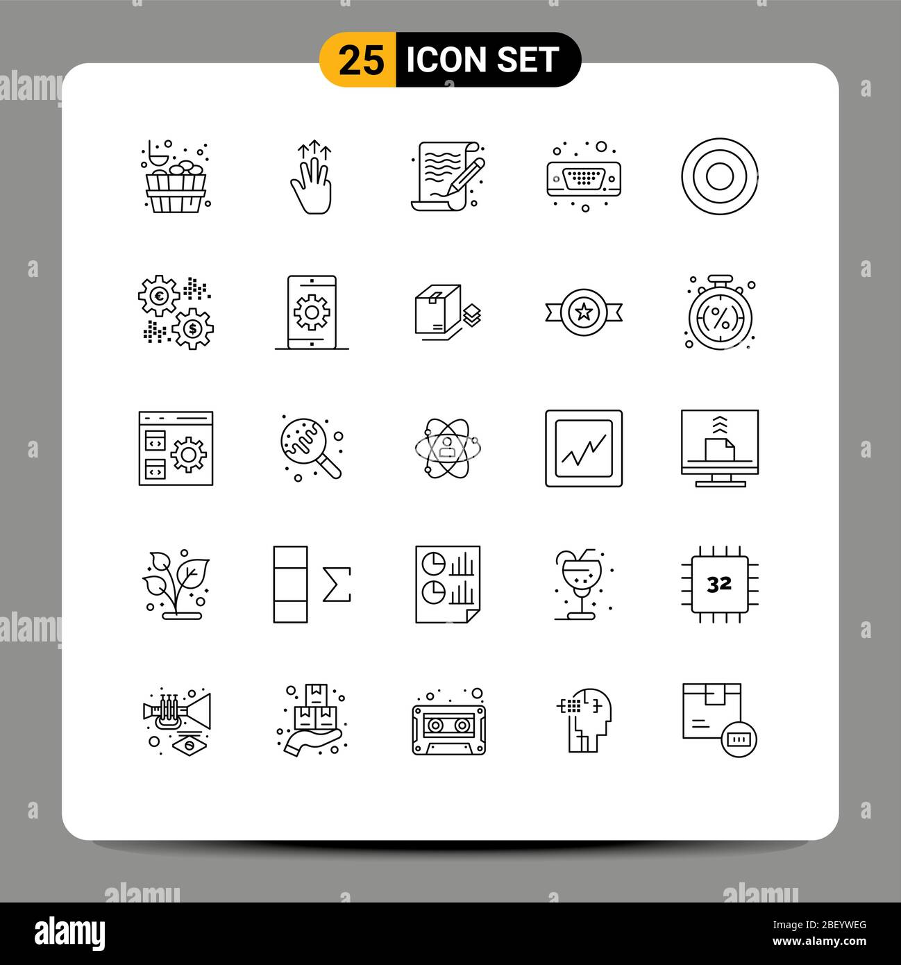 25 Line concept for Websites Mobile and Apps interface, vga, art, port, display Editable Vector Design Elements Stock Vector