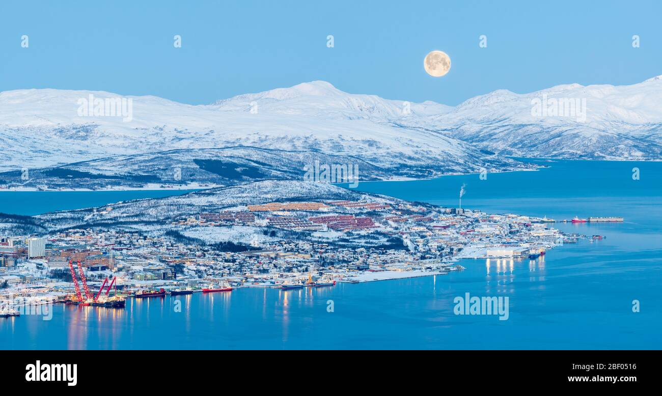 Aerial View On Tromso At Full Moon In Winter Time, Norway Stock Photo