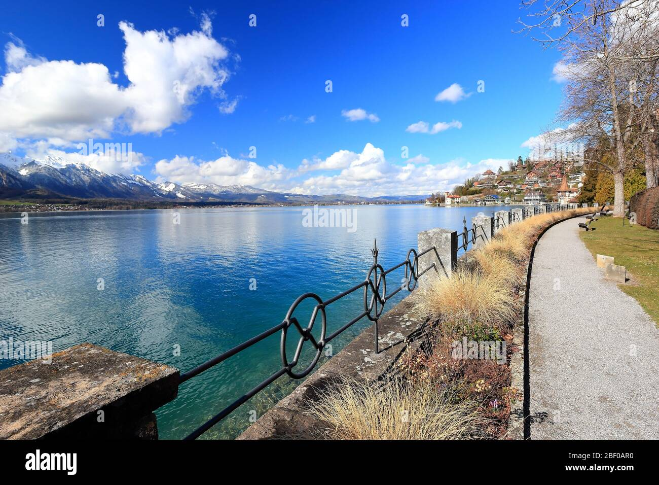 Oberhofen am Thunersee. The town is located on the northern shore of Lake Thun. Switzerland, Europe. Stock Photo