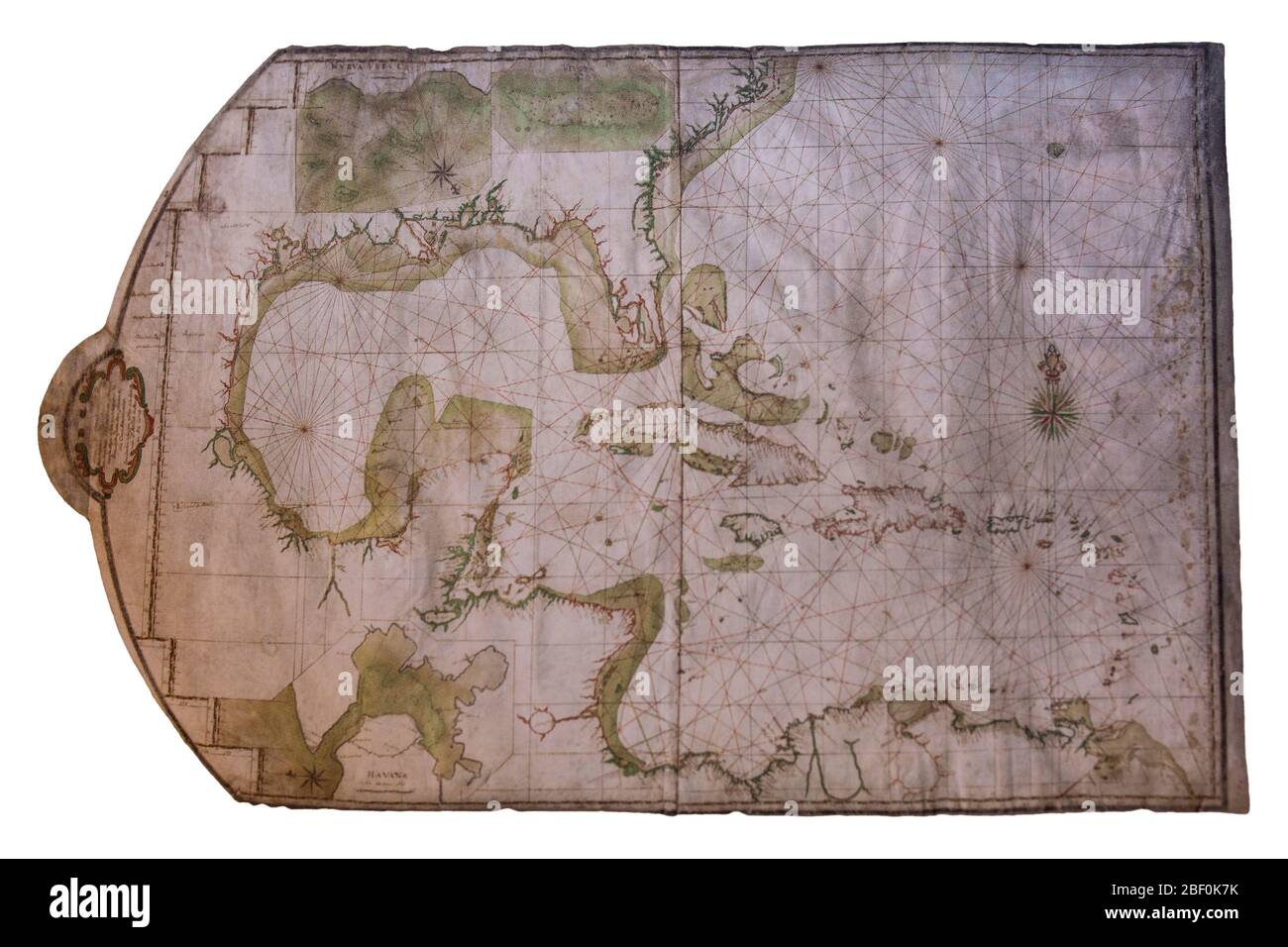 Nautical Chart of the Caribbean Sea and Gulf of Mexico, 1745. By Antonio Abreu y Mattos. Naval Museum of Madrid, Spain Stock Photo
