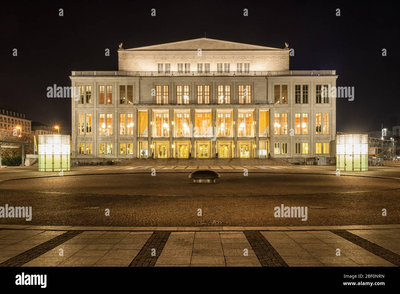 The Opera House In Leipzig At Night Stock Photo Alamy