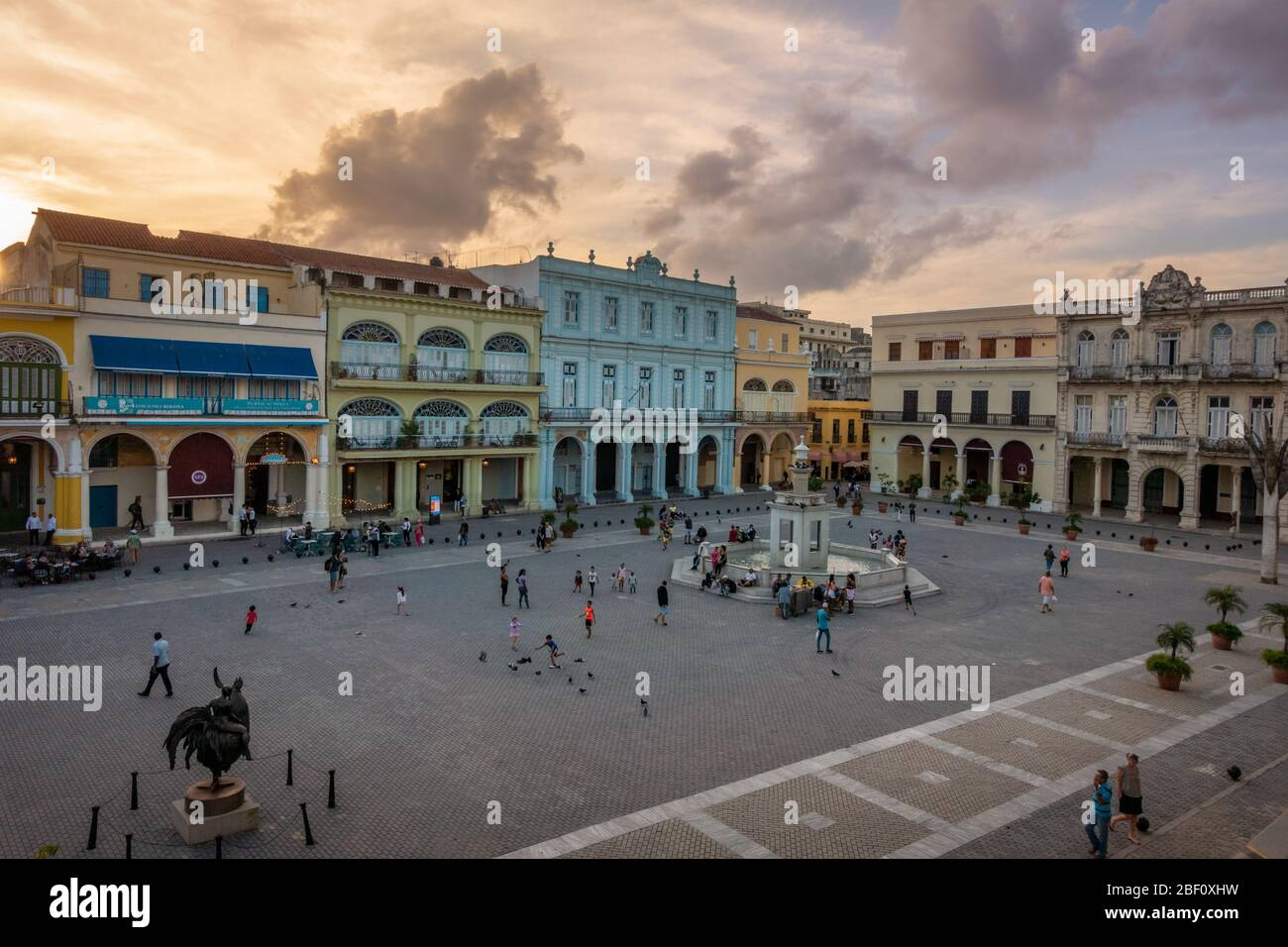 Evening as the sun is setting over Plaza Vieja in Havana old town, Cuba Stock Photo