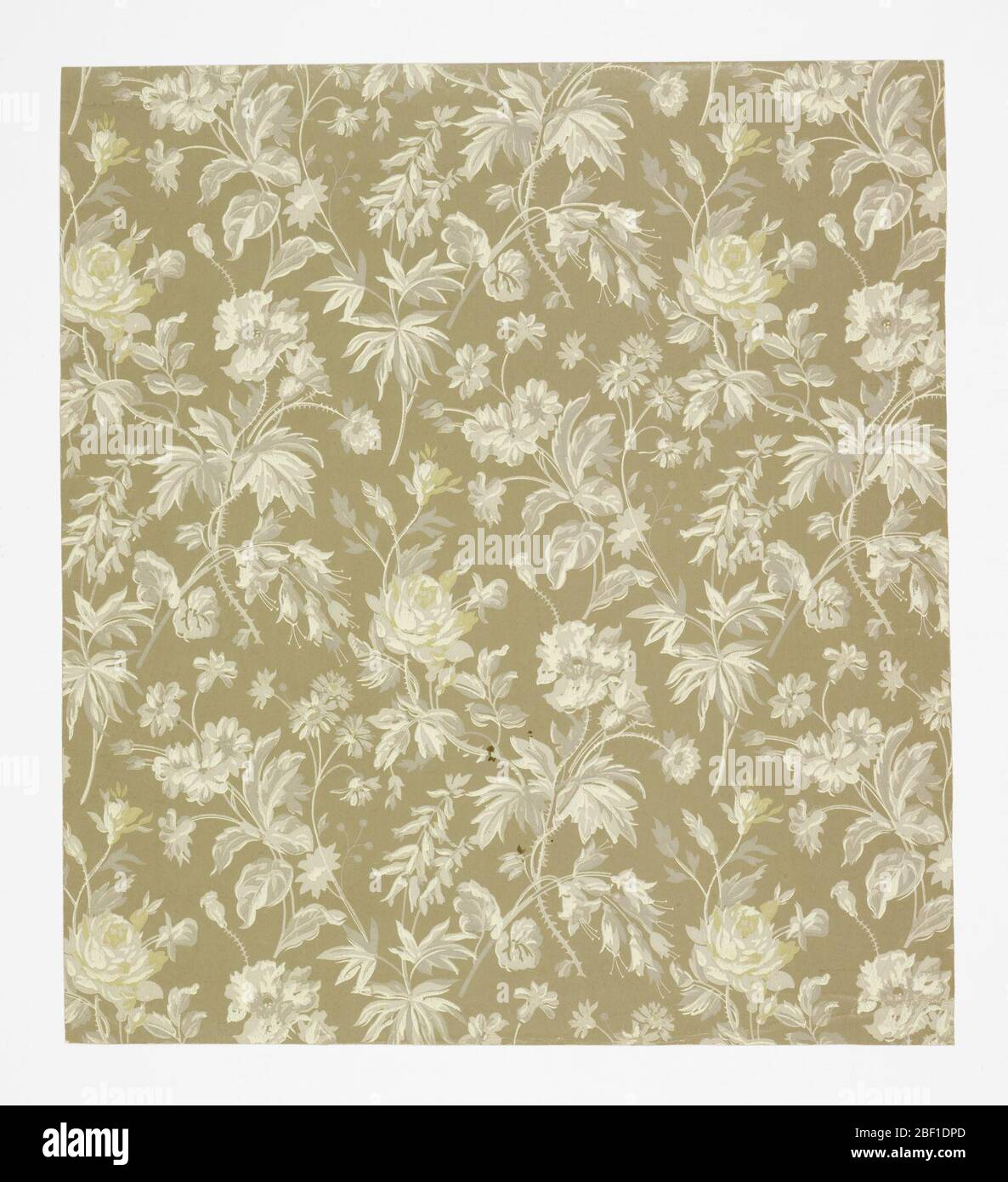 Sidewall Aesthetic All Over Pattern Of Sprigs Of Roses And Other Flowers Three Motifs Arranged In A Diamond Shaped Repeat In Off Set Columns Greyscale Coloration With Naturalistic Block Shading Ground Is Light Brown Stock