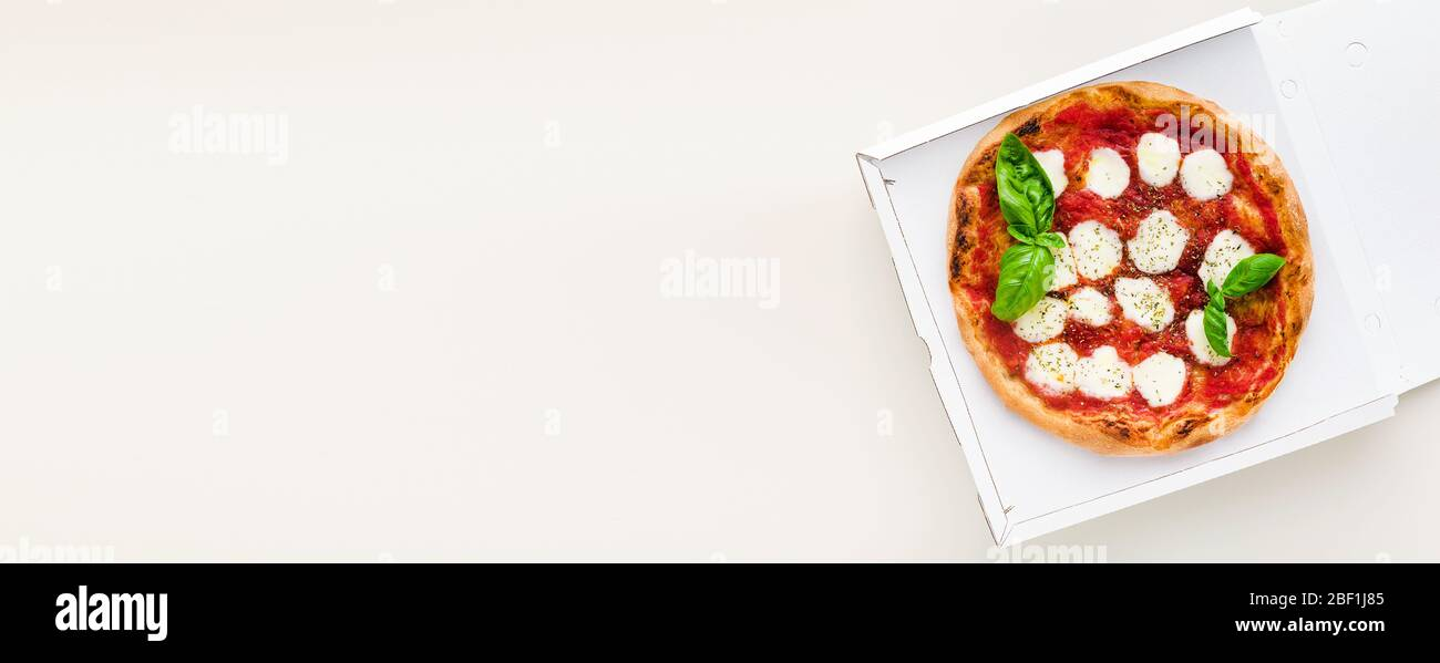 banner of pizza Margherita in a box for delivery, advertising or menu Stock Photo