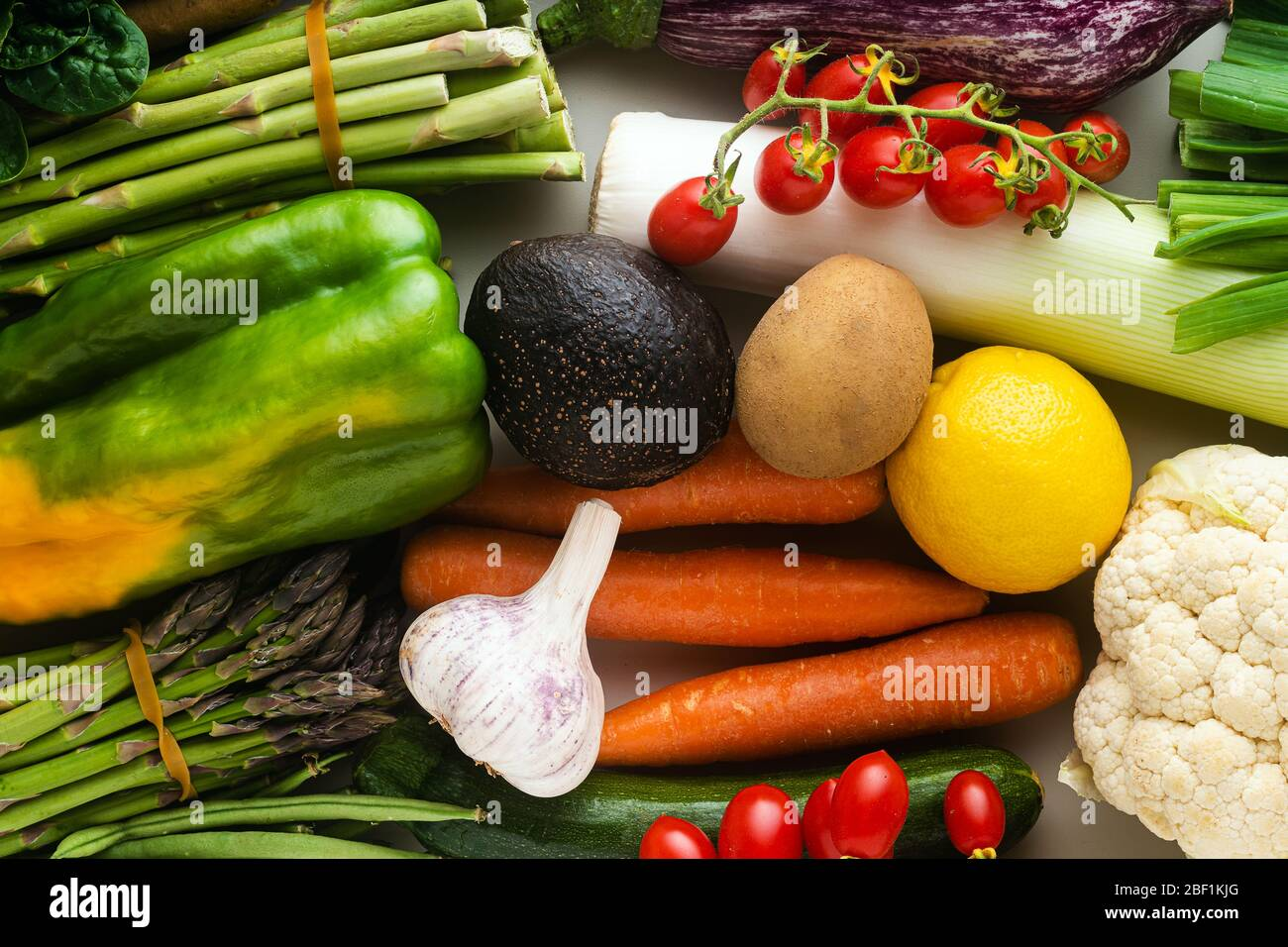 many varied colored fresh vegetables for home delivery. banner advertising Stock Photo