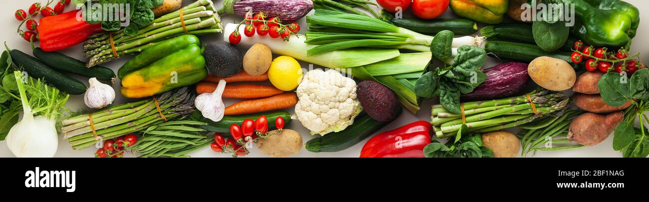 banner of many varied colored fresh vegetables for home delivery. advertising Stock Photo