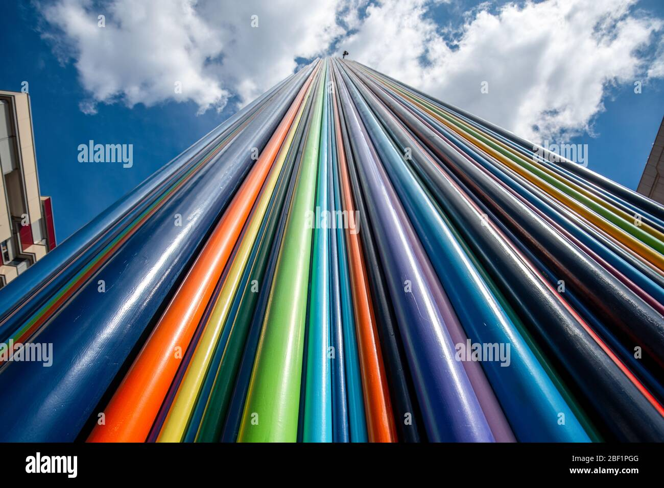 Artistic Installation Of Rainbow Colored Tubes In La Defense District In Paris France Stock Photo Alamy