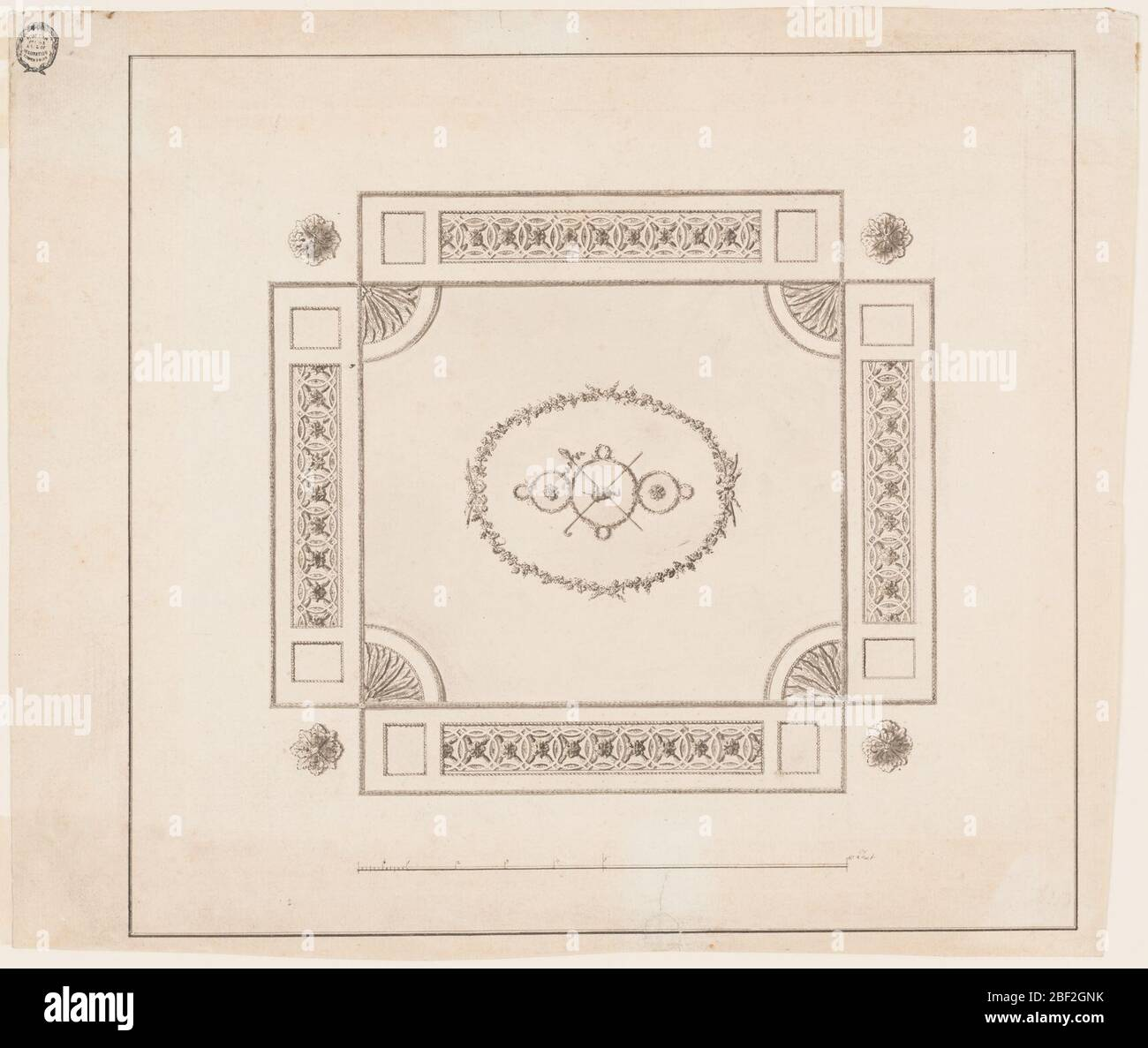 Design for an Oblong Plaster Ceiling. Horizontal format design for an oblong plaster ceiling. Rosettes in the four corners. In the center is an ovoidal wreath formed by twigs within which are slopes formed by a garland. In the center is an urn, crossed, a thyrsus and a shepherd's staff. Stock Photo