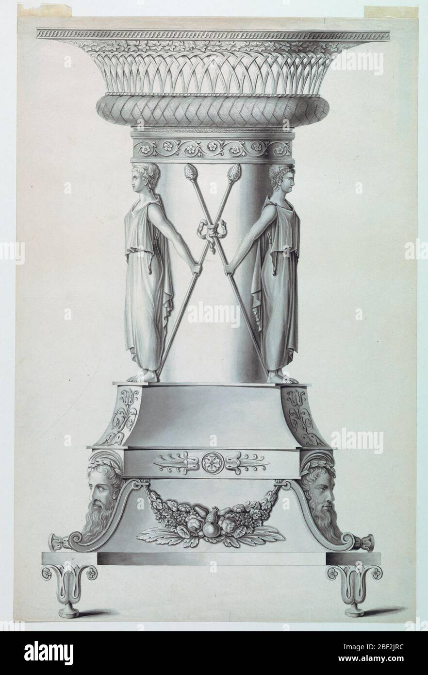 Design for a Bowl with a Stand. A pedestal of complicated design showing a fruit festoon, with bearded masks and plant motifs, is supported by lotus blossoms. A big and short column is surrounded by girls holding a thyrsus in either hand. The capital is shaped like a basket. Stock Photo