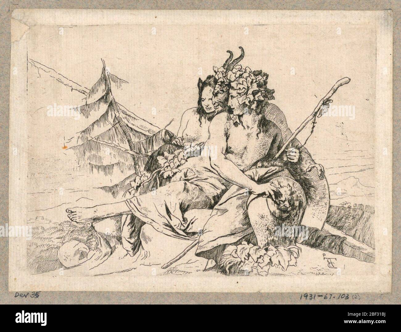 Copy of Bacchante Satyr and Female Faun from the series Scherzi di Fantasia. In the center, a compact group of a bacchante, a satyr and a female faun. They face left. The bacchante holds a thyrsus in her left hand and her right hand rests on a vase. In the background, trees. Stock Photo