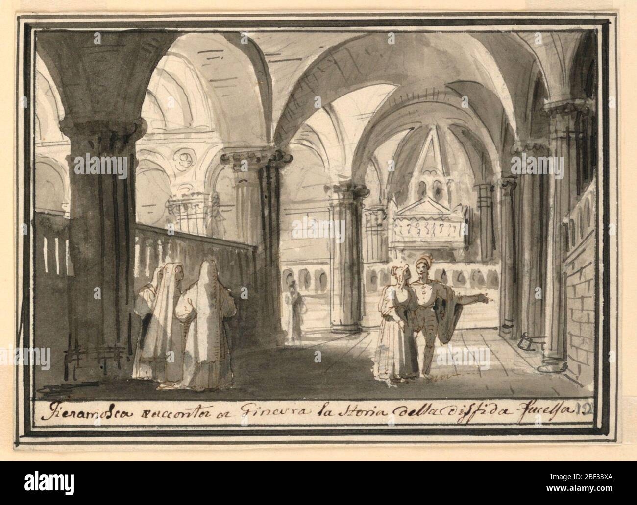 Stage Design Interior Of Church Horizontal Rectangle Interior Of Church With Two Groups Of People In Foreground At Left Group Of Nuns At Right Man Gestures With Extended Arm Woman Watches Him