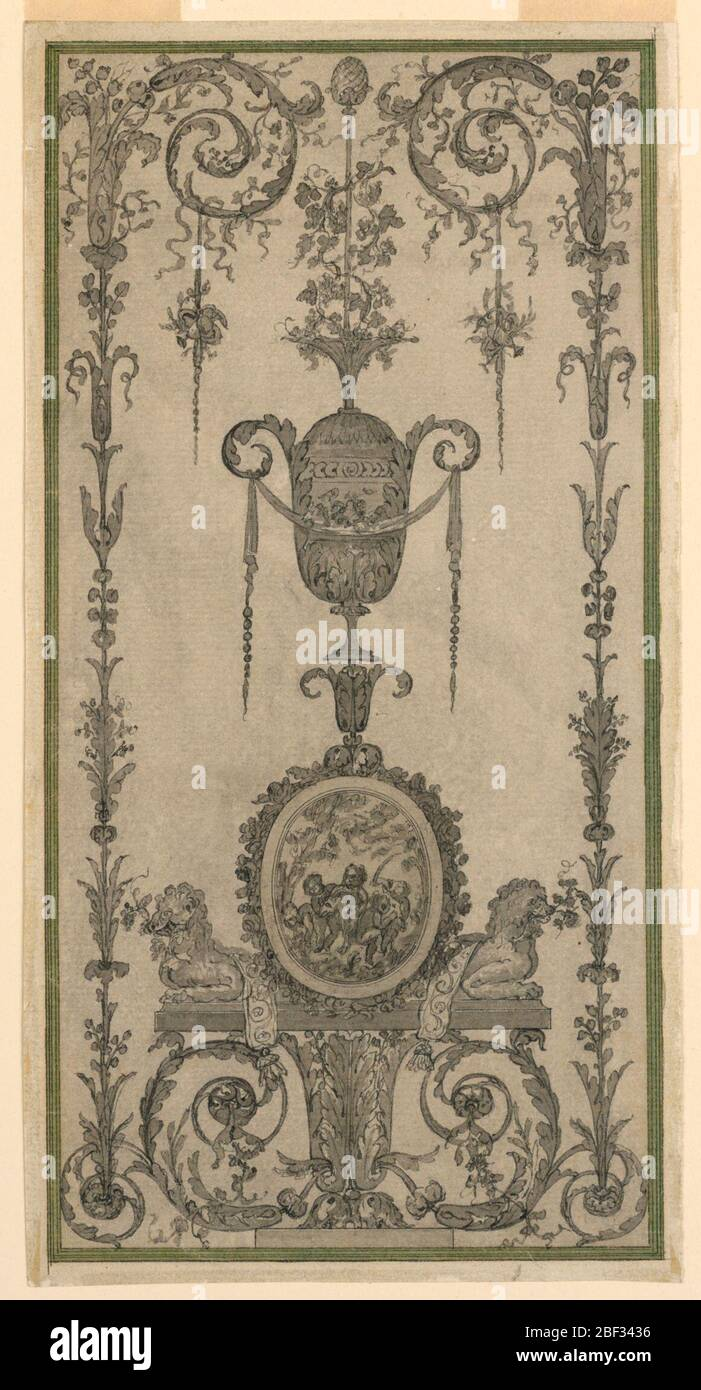 Arabesque Design for a Panel. Candelabrum with two lateral framing growths. The central stem consists of a calyx section, a base with crouching lions flanking an ovoidal medallion, an urn, a thyrsus. Framing strip. Stock Photo