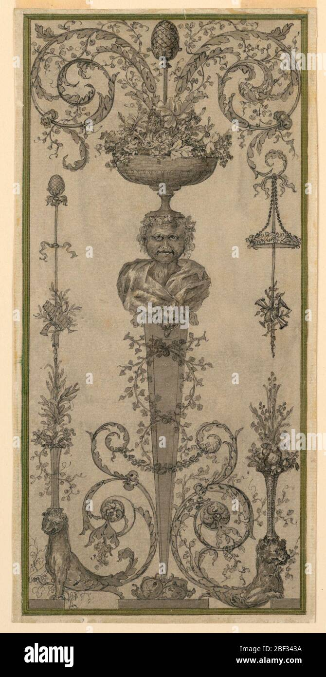 Arabesque Design for a Panel. Gaine with the bust of Dionysus supporting a bowl full of bunches of grapes and leaves from which a faun with a thyrsus and two acanthus scrolls rise. A disk with roses and a trophy are suspended from the scroll at right. Stock Photo