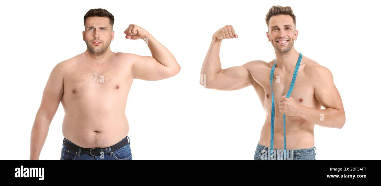 Young man before and after weight loss on white background Stock ...