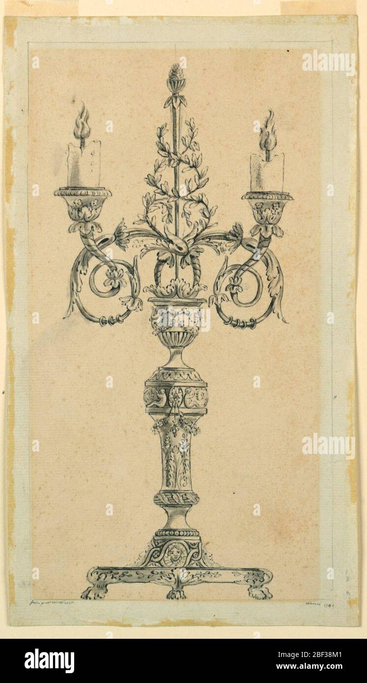 Project for a candelabrum. A vase shape stand upon a richly decorated baluster which rises from a base which is intended to be supported be four lion's feet. From a calyx on top of the case emerge two acanthus scrolls carrying the sockets with low burning candles and a thyrsus. Stock Photo