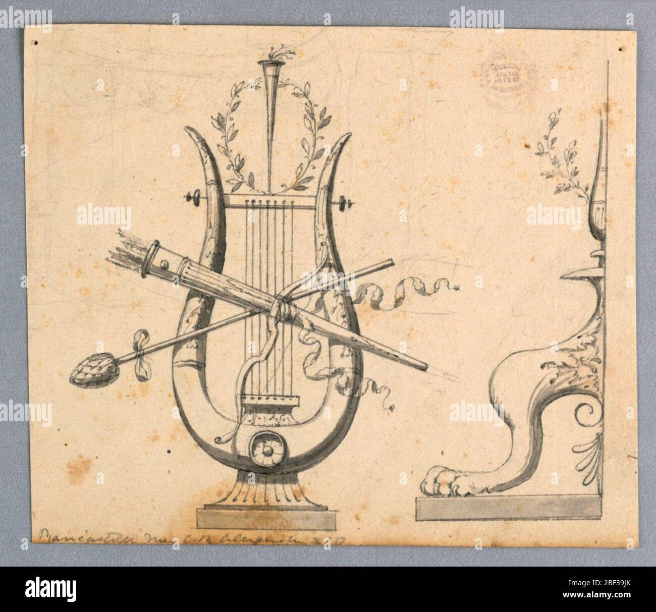 Design for Decorative Motifs. At left, a lyre with a bow, a thyrsus, a quiver in front of it, with a torch and a wreath on top of it. At right is the left half of the foot of a candelabrum. Stock Photo