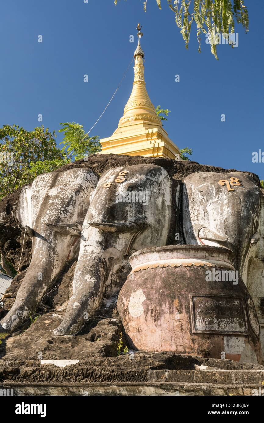 Shrine on top of the carved cliffside of Shwe Ba Taung, Monywa, Myanmar Stock Photo