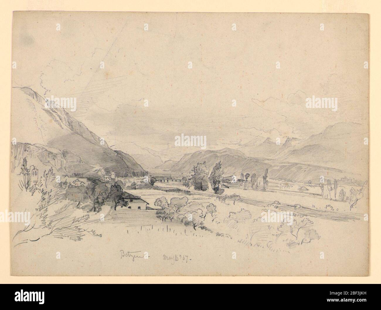 Landscape Bautzen Germany Sketch Of A River In A Valley With A Bridge In The Center And Mountains In The Background Stock Photo Alamy