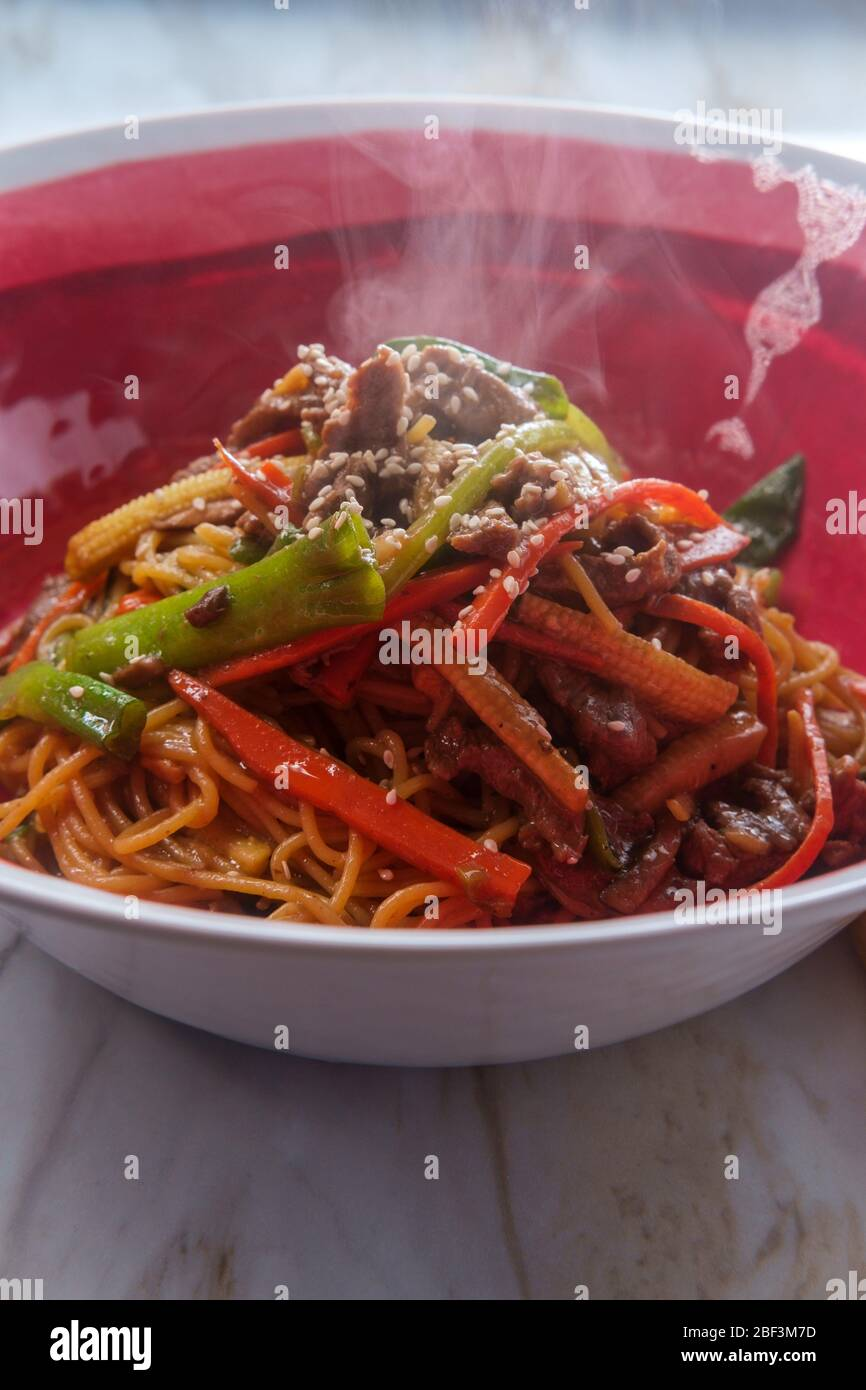 Chinese House Special Beef Lo Mein Made With Gluten Free Ingredients Stock Photo Alamy
