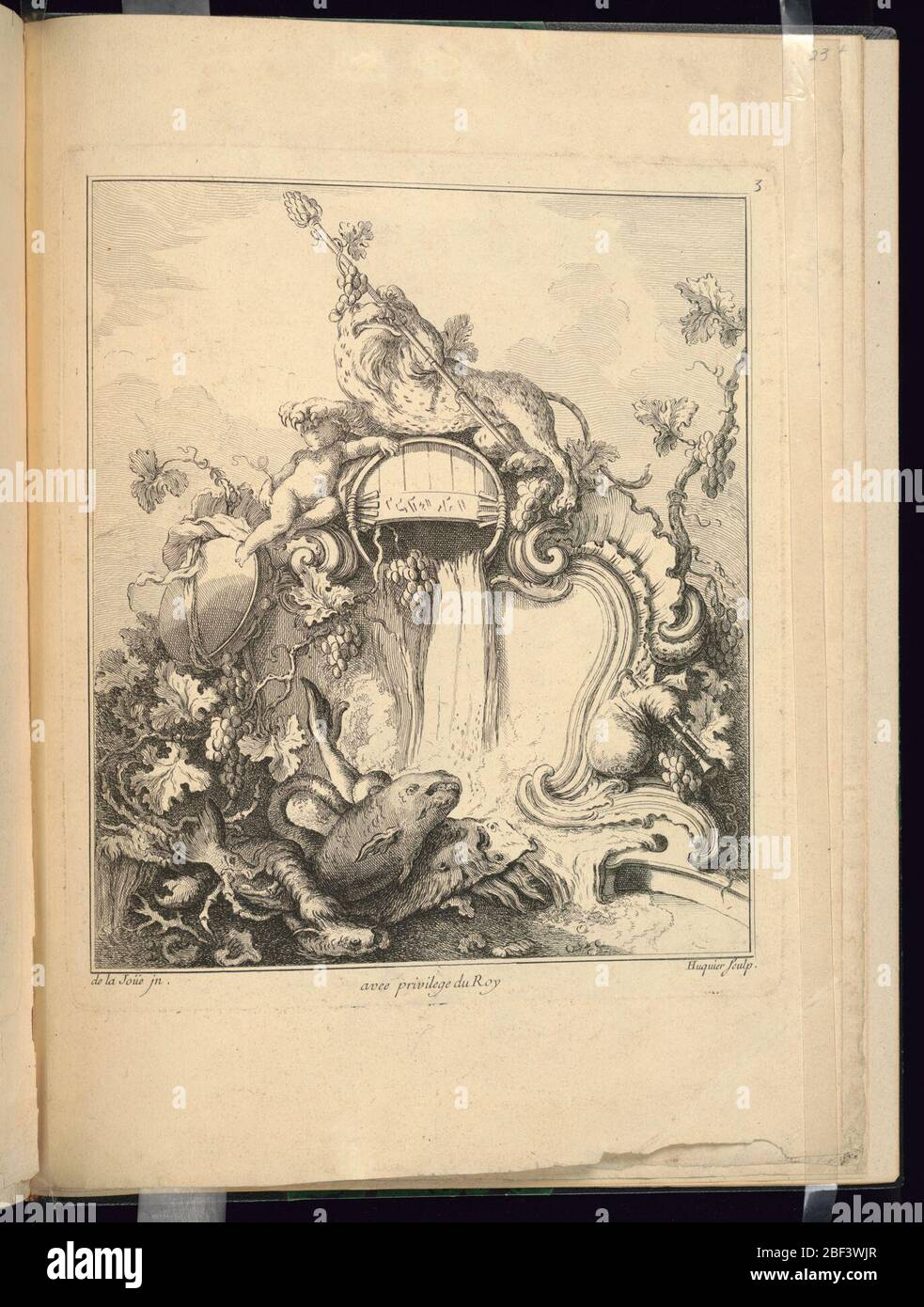 Design for a Cartouche Surmounted by a Tiger. A tiger holding a thyrsus atop a barrel that is probably pouring wine, his paw resting on the head of a putto. Clusters of grapes and leaves decorate the cartouche. Enormous fish are at bottom foreground. Stock Photo