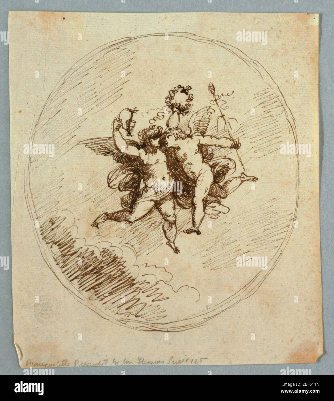 Two Flying Putti with Attributes of Dionysus. Vertical rectangle showing two loosely drawn putti in an oval frame. The left putto raises a pitcher and wreath, the right has a thyrsus. Stock Photo