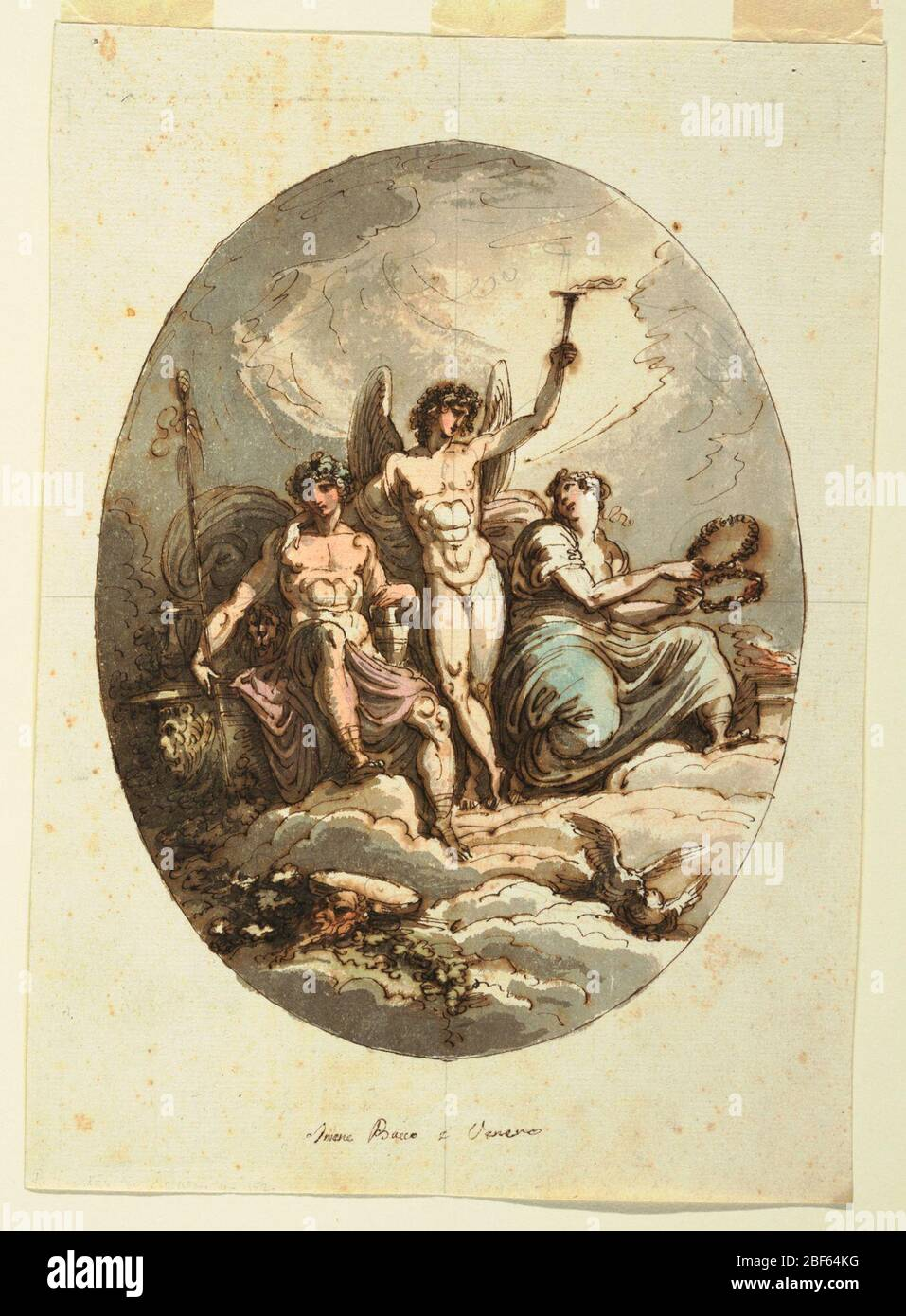 Design for Wall or Ceiling Decoration with Bacchus Hymen and Venus. Hymen standing, embraces Dionysos with right arm and raises torch with his left arm. At left Dionysos sits upon throne, together with lion; he leans left hand upon pitcher, supports hand thyrsos with right. Stock Photo