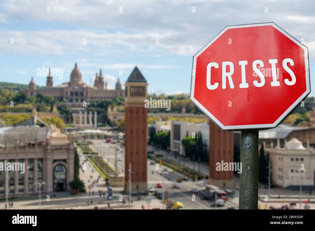 Crisis stop sign with view of Spanish square in Barcelona, Spain. Financial  crash in world economy because of coronavirus pandemic. Global economic cr  Stock Photo - Alamy
