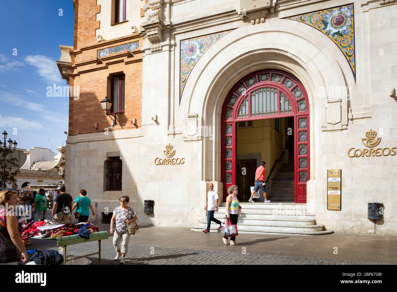 Post office in Plaza de las Flores, Cadiz, Cadiz Province, Costa de la Luz, Andalusia, Spain. Stock Photo
