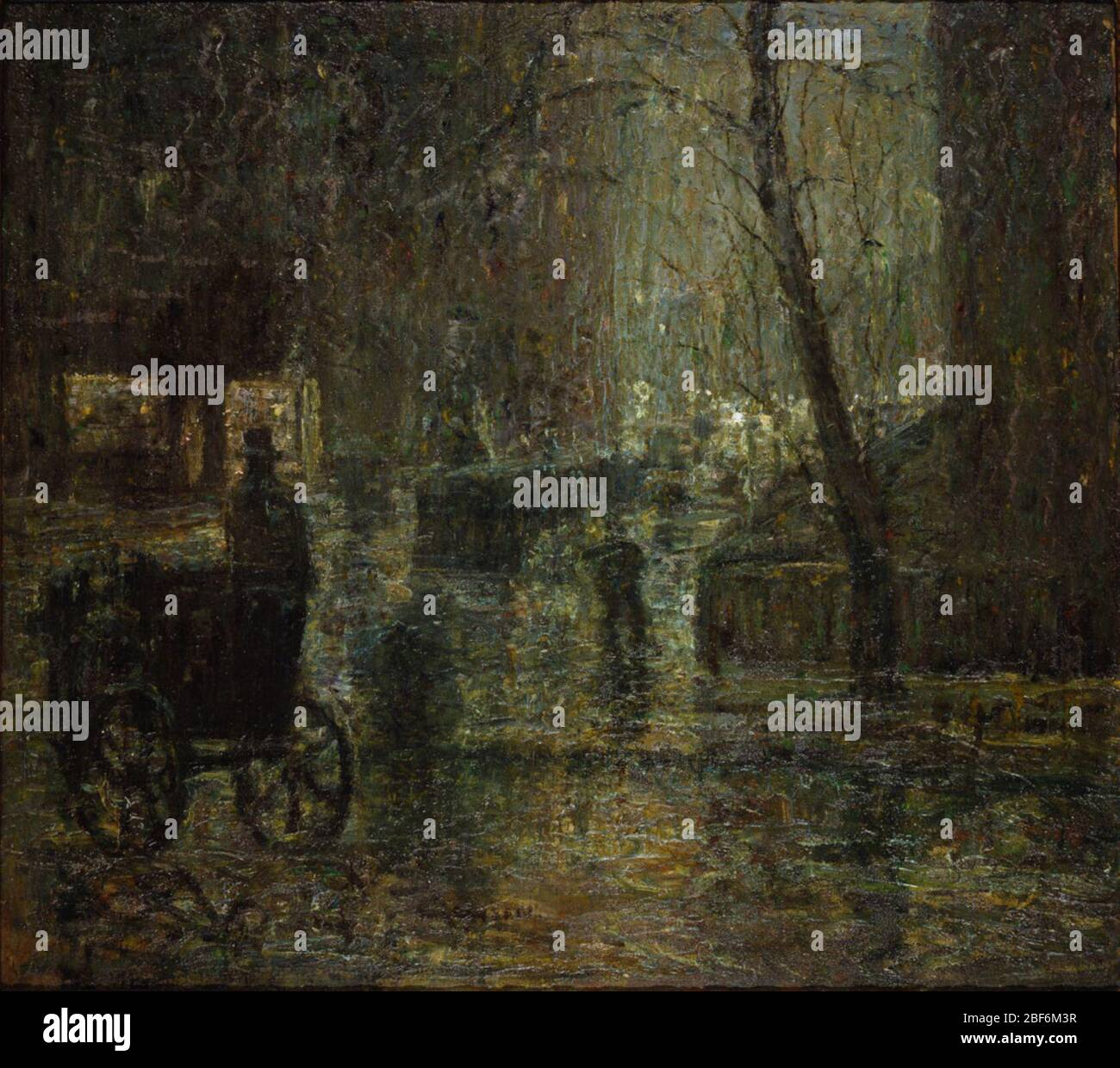 Wet Night Gramercy Park After Rain Nocturne Alexander Morten New Yorkamerican Art Association New York Sale 29 January 1919 No 67c W Stock Photo Alamy