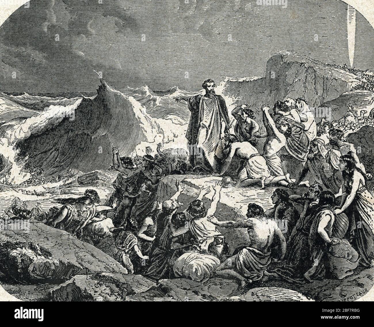 """Moses crossing the Red Sea - Le passage de la Mer Rouge : Moise separant la Mer Rouge Gravure tiree de 'L'histoire sainte"""" de Lahure 19eme siecle Coll Stock Photo"""