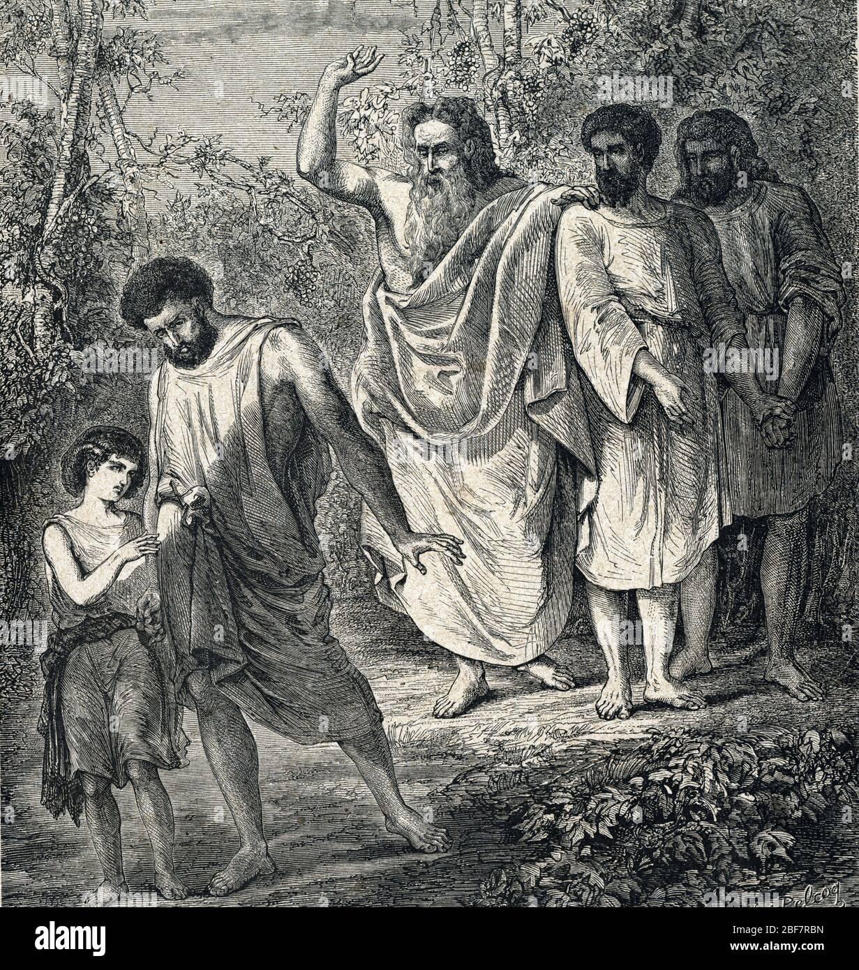 Noah Driving Ham Away - Noah curses Ham - La malediction de Cham - Le patriarche Noe maudit son petit fils Canaan, pour une faute commise par son pere Stock Photo