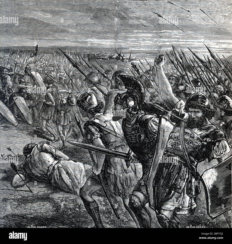 Premiere guerre medique : les atheniens repoussent les envahisseurs Perses lors de la bataille de Marathon, 490 av JC (Battle of Marathon took place i Stock Photo