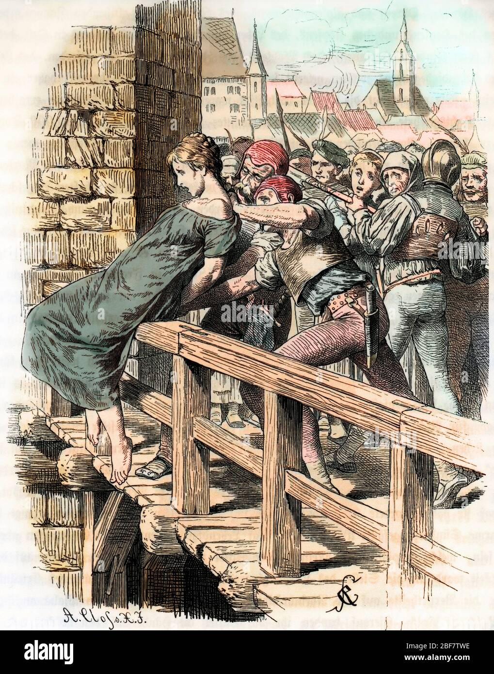 Une meurtriere tueuse d'enfants est livree a la justice populaire, jetee par la foule dans le fleuve en guise de lynchage Bale 1567 (A child killer is Stock Photo