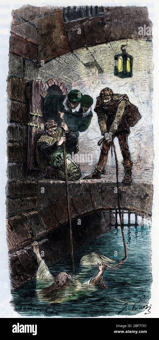 Chasse aux sorcieres : une femme, presumee sorciere, est soumise a l'epreuve de l'eau (ordalie), si elle flotte elle estt condamnee (Water-ordeal (wat Stock Photo