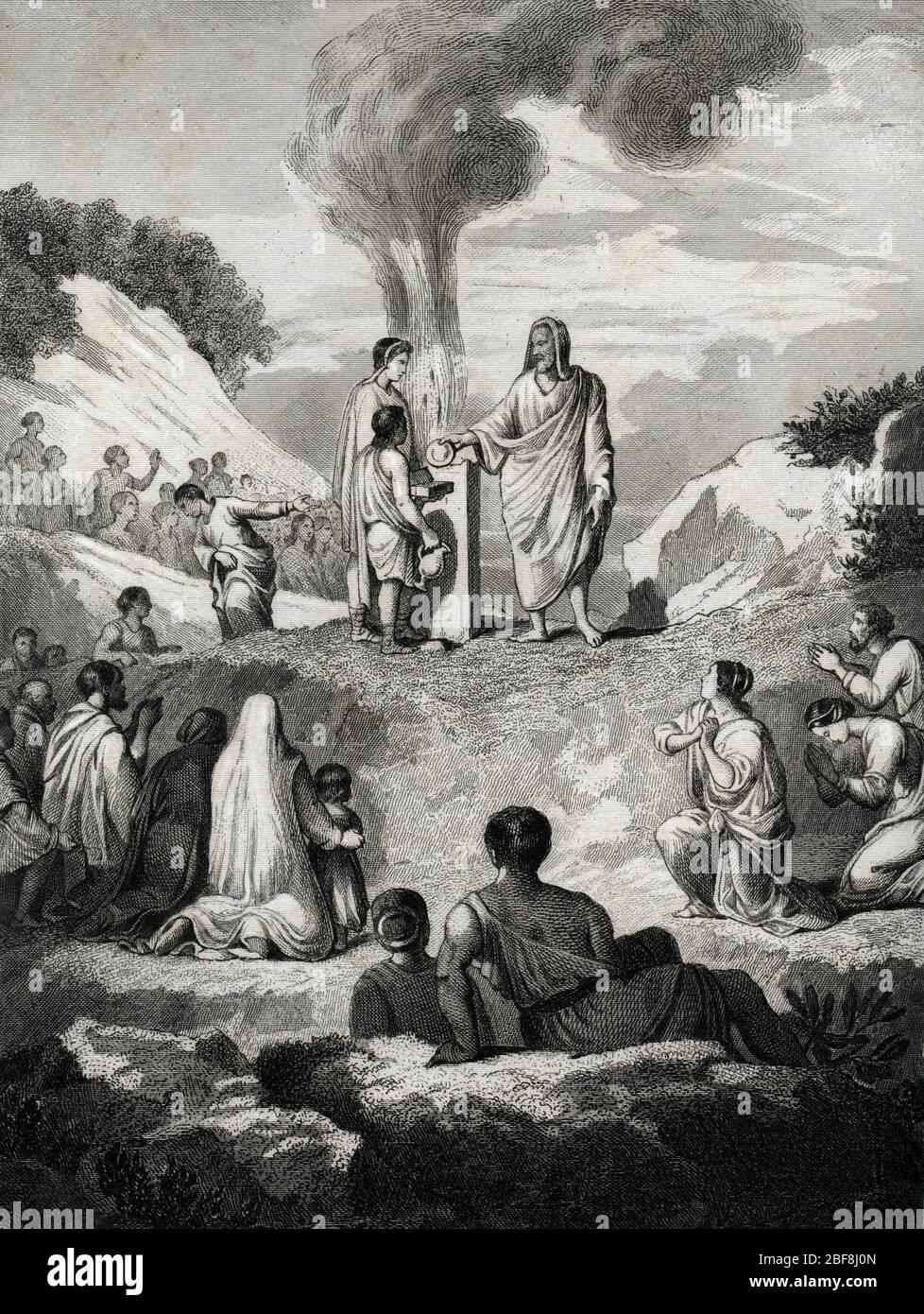 Zoroastrisme - mazdeisme : le culte du feu a l'epoque de la perse achemenide, 539-331 avant JC (Zoroastrianism - Mazdayasna : fire celebration at the Stock Photo