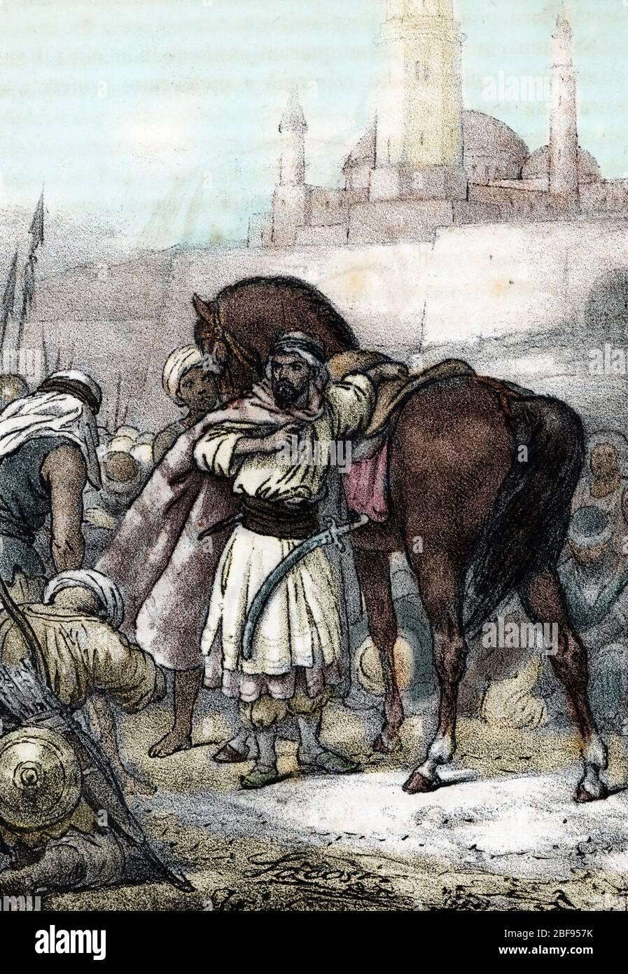 """""""Le futur prophete de l'islam Mahomet (Muhammad ou Mohammed) (570-632) et Abou Bakr lors de l'hegire vers Medine pour fuir les persecutions a la Mecqu Stock Photo"""
