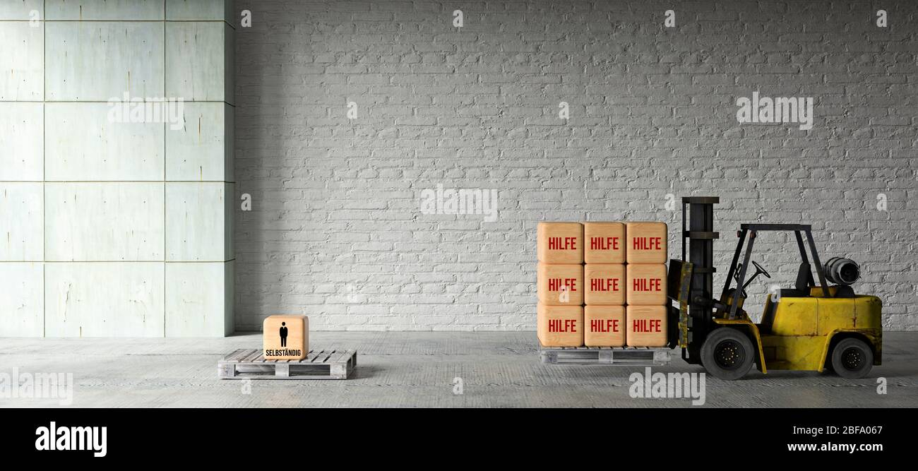 Forklift With Wooden Boxes And The German Word For Help In Front Of An Industrial Background 3d Rendered Illustration Stock Photo Alamy