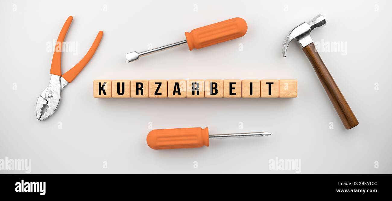 cubes showing the German word for REDUCED HOURS and handicraft ...