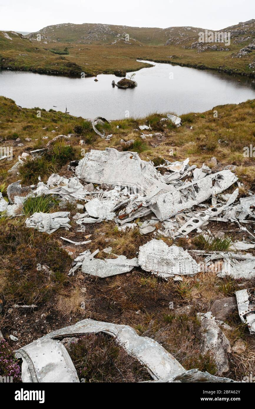 The Fuselage of the USAAF B-24H Liberator that crashed into the Fairy Lochs in 1945 whilst flying American troops back home after the great war. Stock Photo
