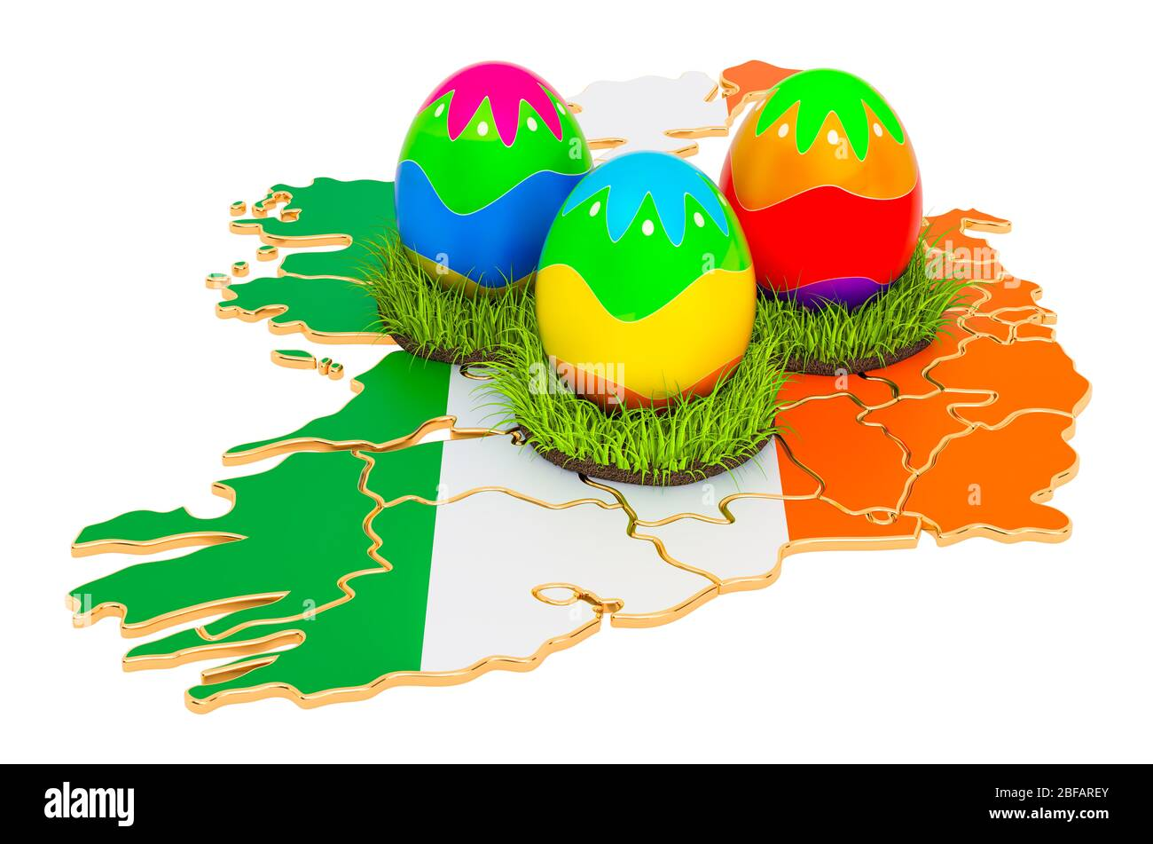 Easter Holiday In Ireland Easter Eggs On The Irish Map 3d Rendering Isolated On White Background Stock Photo Alamy