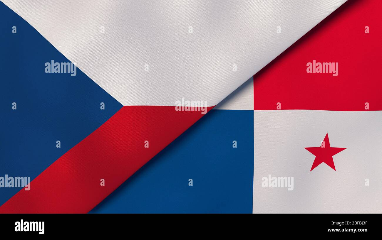 Two states flags of Czech Republic and Panama. High quality business background. 3d illustration Stock Photo