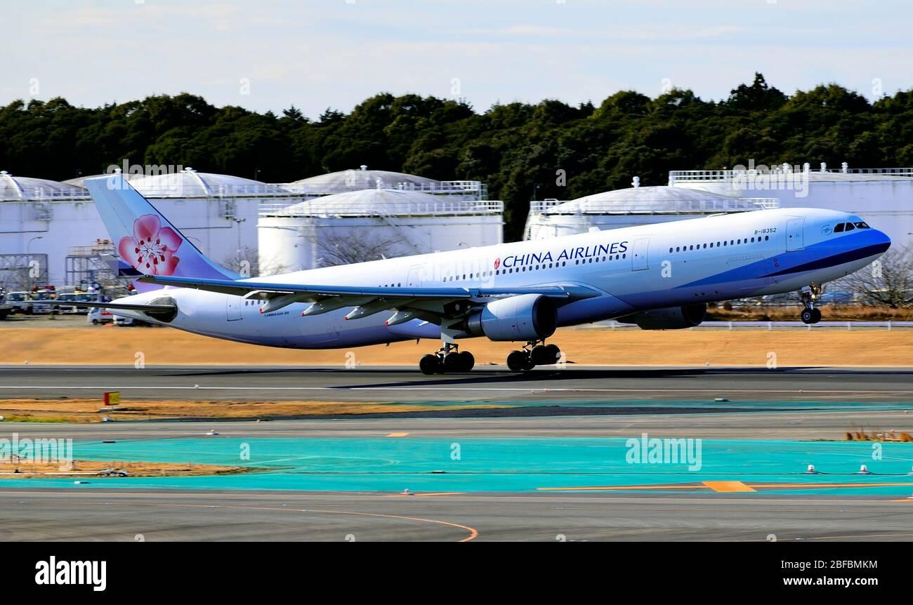 China Airlines-Taiwan, Airbus,A330-300, B-18352, Take Off, Narita Airport, Chiba, Japan Stock Photo