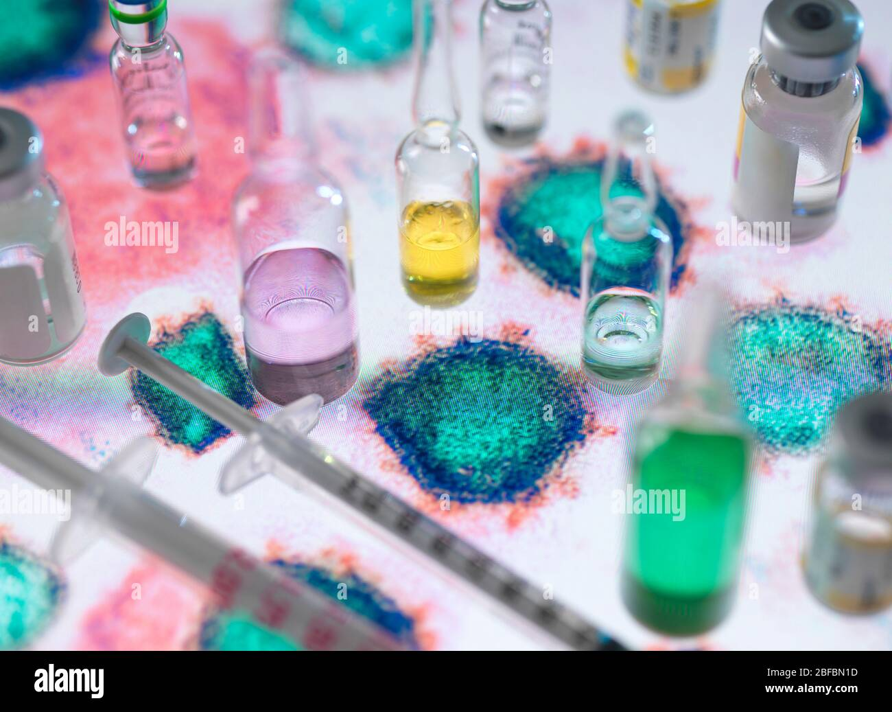 Pharmaceutical research. Potential new medicines and vaccines on an electron micrograph of a virus. Stock Photo