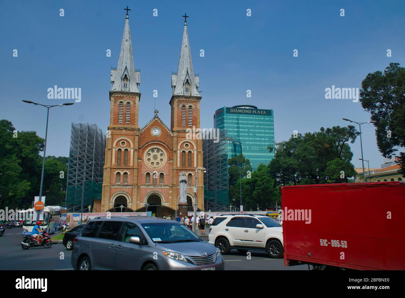 A view of Notre Dame cathedral  built by french in the city of Saigon also known as Ho Chi Minh City in Vietnam Stock Photo