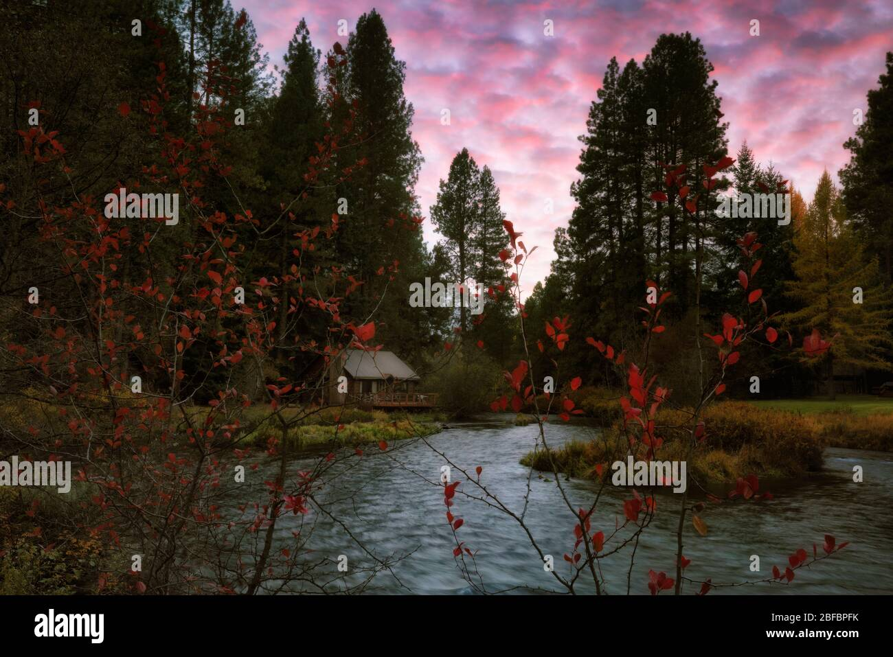 Autumn sunset over the Metolius River at Camp Sherman in Central Oregon's Jefferson County. Stock Photo