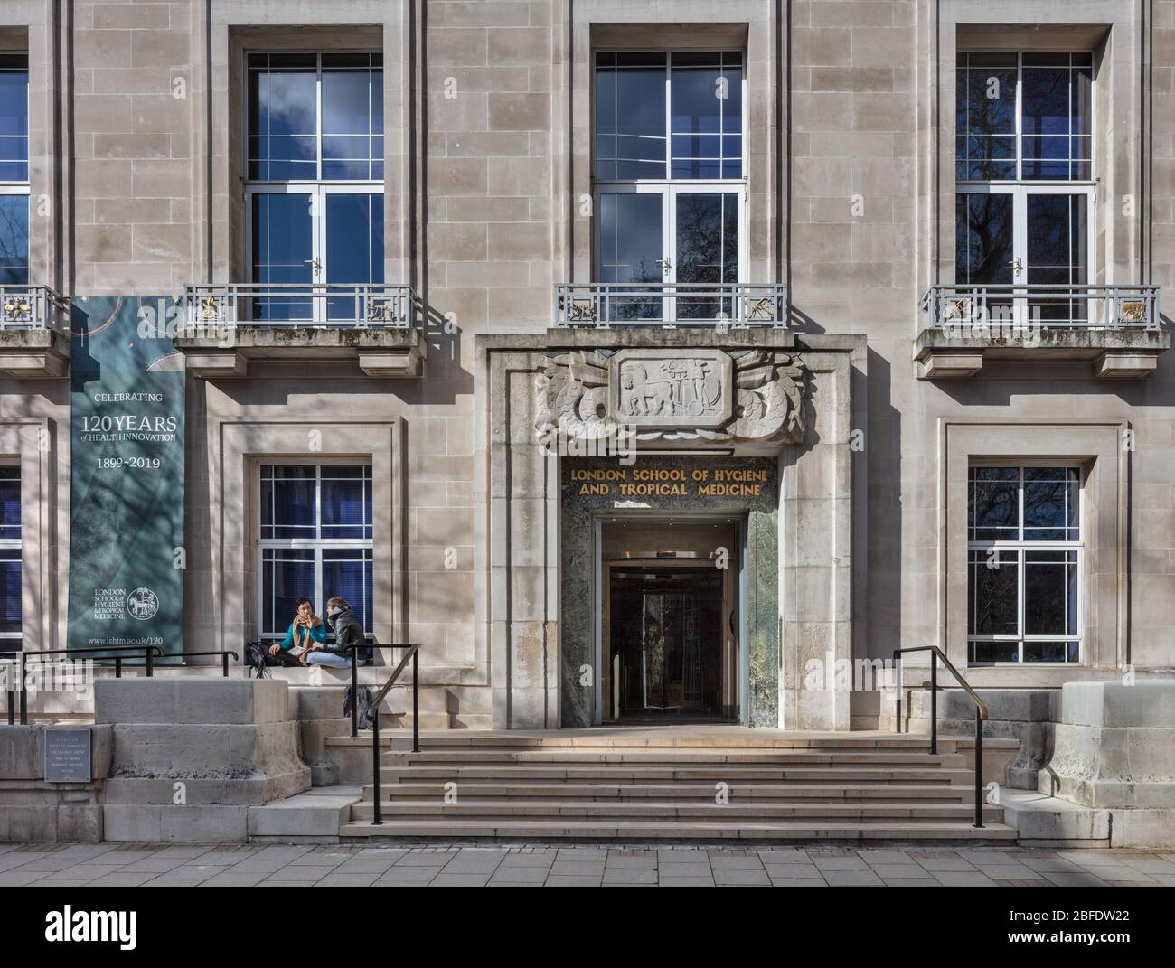 Entrance to the London School of Hygiene and Tropical Medicine in Keppel Street, London. Stock Photo