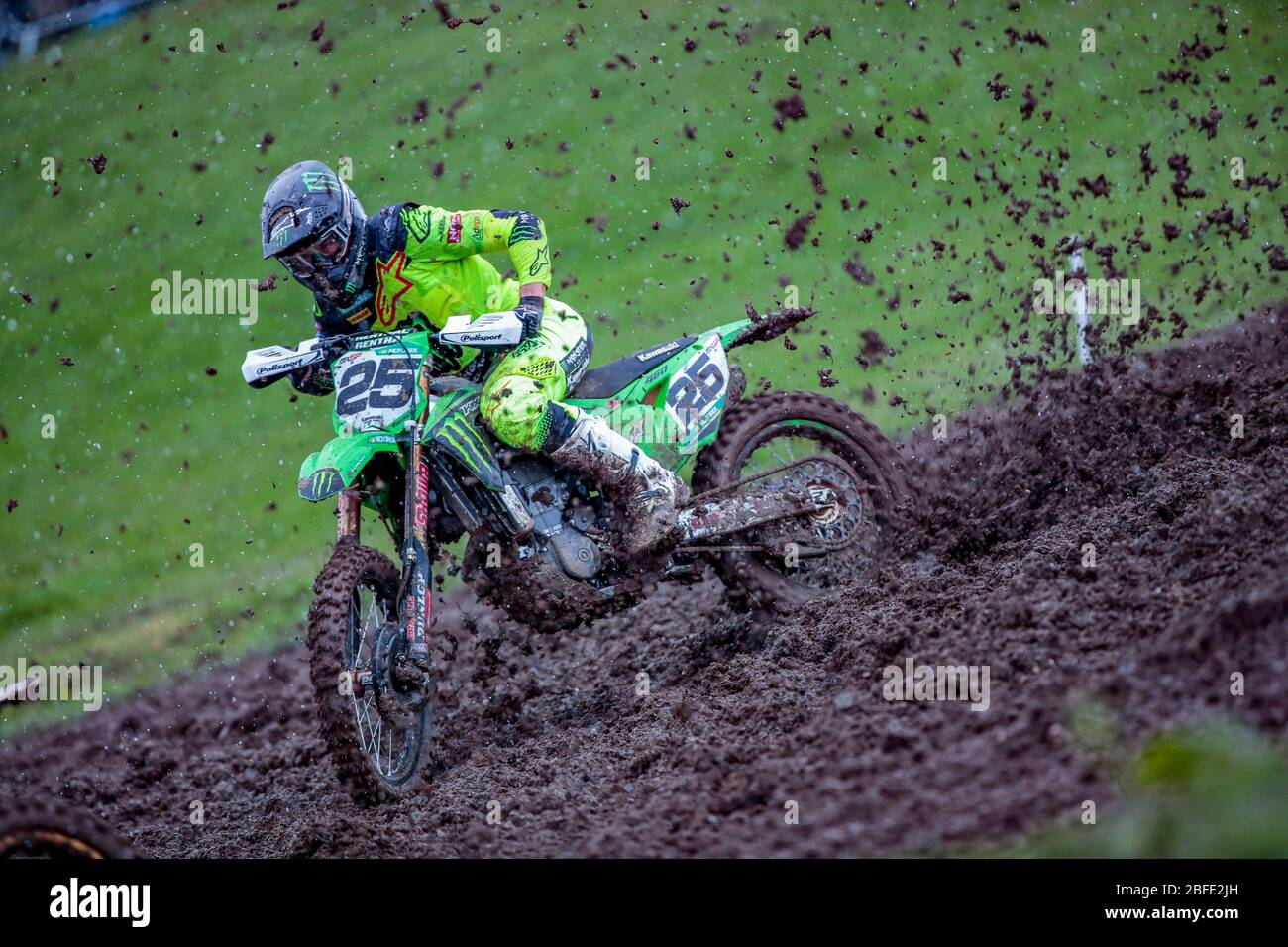 Winchester, Italy. 01st Mar, 2020. clement desalle (bel) team kawasaki factory racing during MXGP of Great Britain, Motocross in winchester, Italy, March 01 2020 Credit: Independent Photo Agency/Alamy Live News Stock Photo